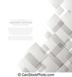 pulito, astratto, sfondo grigio, con, quadrato, forme