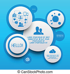 pulito, cerchio, infographic, elementi
