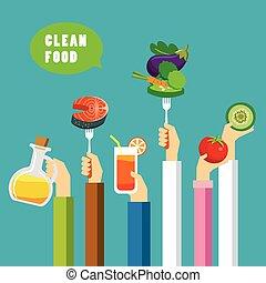 pulito, cibo, concetto, appartamento, disegno
