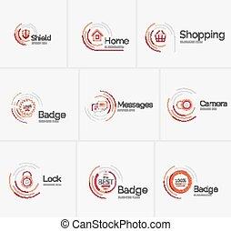 pulito, collezione, disegno, magro, logotipo, linea