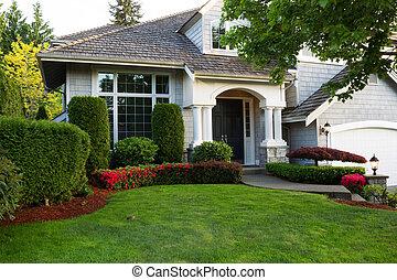 pulito, esterno, casa, durante, tardi, stagione primaverile