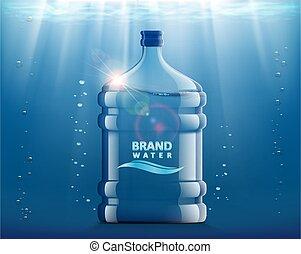 pulito, water., bottiglia, recipiente plastica, refrigeratore, fresco