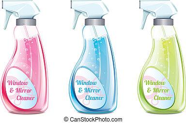 pulitore, finestra, set