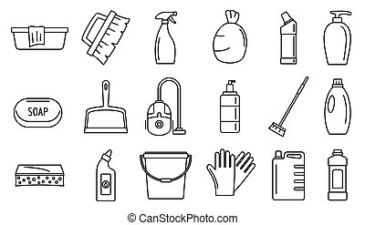 pulitore, stile, contorno, icone, set, commerciale, apparecchiatura