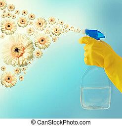 pulitore, su, mano, spruzzare, chiudere, fiori
