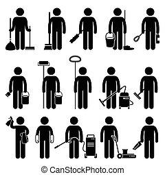 pulitore, uomo, pulizia, attrezzi