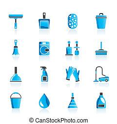 pulizia, e, igiene, icone