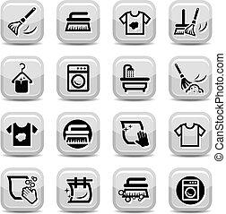 pulizia, e, lavaggio, icone, set