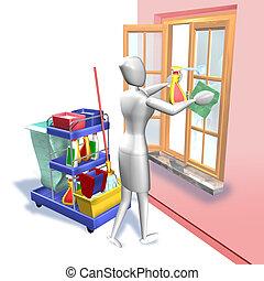 pulizia, finestra