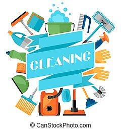 pulizia, governo casa, fondo, icone