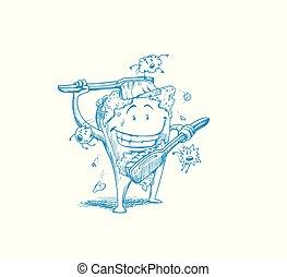 pulizia, igiene dentale, toothbrush., se stesso, dente, concetto, spazzolino