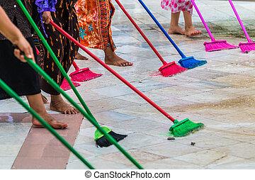 pulizia, il, pavimento, con, mocio