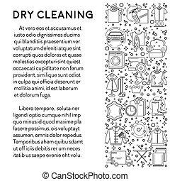 pulizia, manifesto, linea servizio, bucato, icone, asciutto