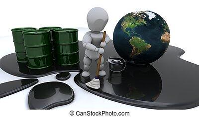 pulizia, olio, su, uomo, fuoriuscita