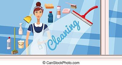 pulizia, ragazza, bandiera, orizzontale, cartone animato, stile