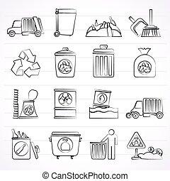 pulizia, rifiuti, icone
