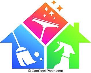 pulizia, servizio, affari, casa