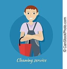 pulizia, servizio, bandiera