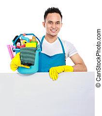 pulizia, servizio, con, cartoncino bianco