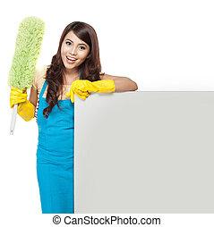 pulizia, servizio, donna, presentare, vuoto, asse