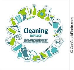 pulizia, servizio, illustration.
