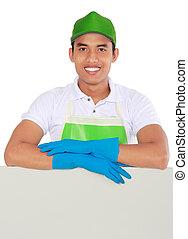 pulizia, servizio, uomo, presentare