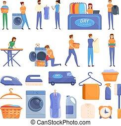pulizia, set, asciutto, stile, cartone animato, icone