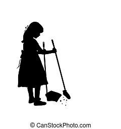 pulizia, silhouette, spazzate, ragazza, pavimento