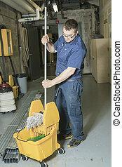 pulizia, suo, mocio, tecnico di assistenza, pavimento
