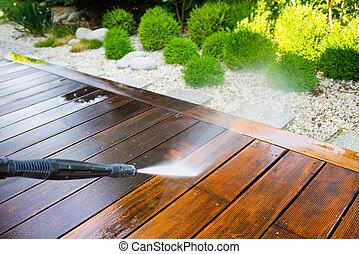 pulizia, terrazzo, rondella, pressione