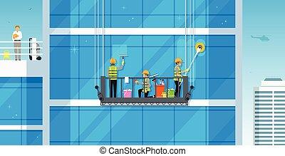 pulizia, vetro, costruzioni