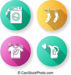 pulizia, washateria, colorare, tessuto, glyph, eco, vapore, disegno, service., cura, lavaggio, asciutto, drying., esterno, bucato, silhouette, appartamento, vestiti, moneta, rgb, illustrazioni, icone, uggia, set., lungo