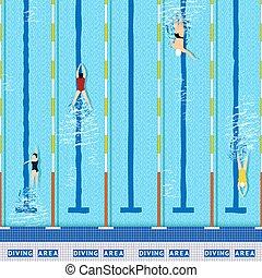 pulje, svømning, udsigter, top