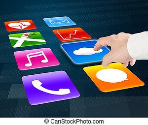 pulken pointing, op, wolk, gegevensverwerking, met, kleurrijke, app, iconen