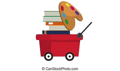 Pull cart with books HD animation - Pull cart moving with...