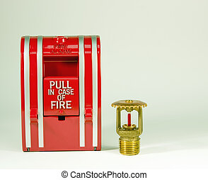 Pull station and sprinkler head - Fire alarm pull station...