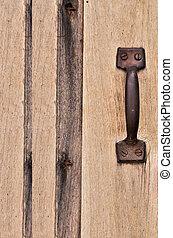 Pull the old wooden door