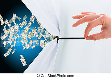 Pull white paper for show Money glow after success your...