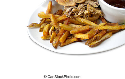 pulled pork sandwich and french fries