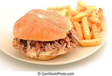 pulled pork sandwich and fries