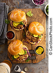 Pulled pork sandwiches with cabbage and pickles - Pulled ...