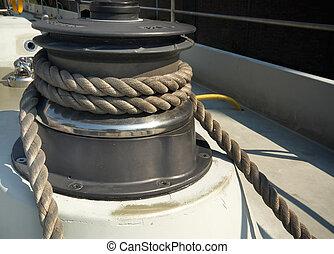 pulley of a big sailboat