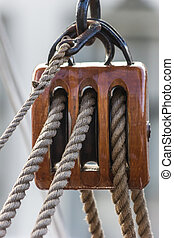 Pulley of an old ship in the center of Groningen, the ...
