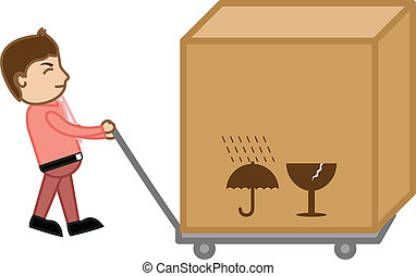 Pulling a Big Box Bundle - Business Cartoon Vector...