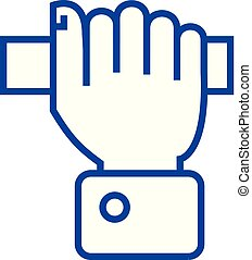 Pulling hand line icon concept. Pulling hand flat vector symbol, sign, outline illustration.