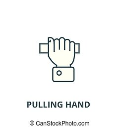 Pulling hand vector line icon, linear concept, outline sign, symbol