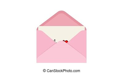 Pulling I love you note card out of an envelope over white background