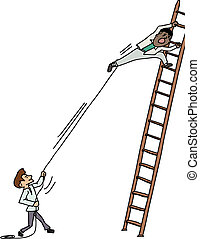 Pulling Man on Ladder - Jealous man pulling another man...