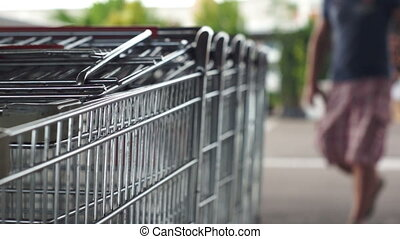 Pulling Out Shopping Cart