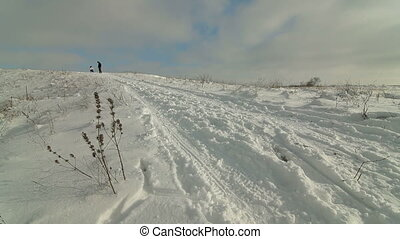 pulling through the snow